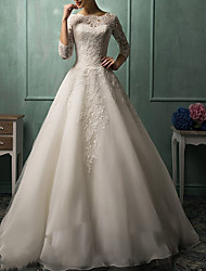 cheap -A-Line Bateau Neck Court Train Lace 3/4 Length Sleeve Made-To-Measure Wedding Dresses with Buttons 2020