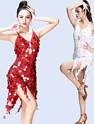 cheap -Women's Flapper Girl Latin Dance Flapper Dress Party Costume Sequins Flapper Costume Sequin Polyster White Green Red Dress