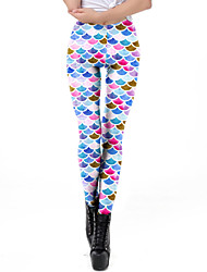 cheap -Women's Dailywear / Yoga Sporty / Basic Legging - Geometric, Print Mid Waist Rainbow S M L