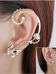 cheap -Women's Crystal Stud Earrings Ear Cuff Classic Butterfly Korean Earrings Jewelry Gold For Wedding Party Festival 1 Pair