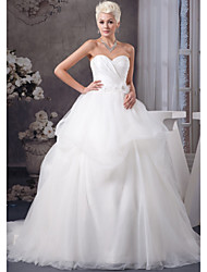 cheap -A-Line Wedding Dresses Sweetheart Neckline Court Train Organza Satin Strapless with Pick Up Skirt Ruched Beading 2020