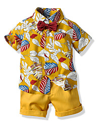 cheap -Kids Boys' Basic Geometric Short Sleeve Clothing Set Yellow