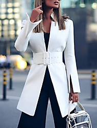 cheap -Women's Blazer, Solid Colored Stand Polyester White