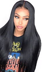 cheap -Synthetic Lace Front Wig Straight Middle Part Lace Front Wig Long Natural Black Synthetic Hair 18-26 inch Women's Life Adjustable Classic Black