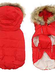 abordables -Chat Chien Tee-shirt Pulls à capuche Sweatshirt Hiver Vêtements pour Chien Rouge Bleu Rose Costume Tissu en Coton Fibre Nylon Couleur Pleine Elégant Garder au chaud XS S M L XL