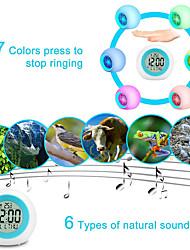 Недорогие -творческий круглый красочный будильник круглый красочный свет градиент будильник с календарем мяч детский будильник на рабочем столе
