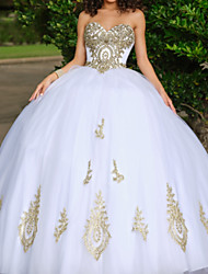 cheap -Ball Gown Sweetheart Neckline Floor Length Lace / Tulle Luxurious / White Quinceanera / Formal Evening Dress with Beading / Appliques 2020
