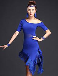 cheap -Women's Flapper Girl Latin Dance Flapper Dress Party Costume Tassel Flapper Costume Polyster Black Fuchsia Royal Blue Dress