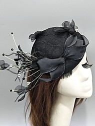 cheap -Feather / Dobby Fabric / Net Fascinators / Hats / Headwear with Bowknot / Lace / Cap 1 Piece Wedding / Special Occasion Headpiece