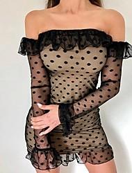 cheap -Women's Elegant Mini Slim Sheath Dress - Polka Dot Off Shoulder Black White S M L XL