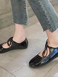 cheap -Women's Flats Flat Heel Round Toe PU Spring & Summer Black / Wine