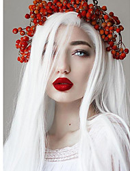 cheap -Synthetic Lace Front Wig Natural Straight Free Part Lace Front Wig Long Creamy-white Synthetic Hair 18-24 inch Women's Cosplay Heat Resistant Party White