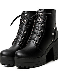 cheap -Women's Boots Chunky Heel Round Toe Rivet PU Booties / Ankle Boots Casual / Preppy Fall & Winter Black / White / Blue