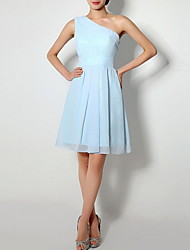 cheap -A-Line Jewel Neck Above Knee Chiffon Bridesmaid Dress with Tier