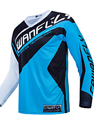 cheap -CAWANFLY Men's Long Sleeve Cycling Jersey Downhill Jersey Dirt Bike Jersey Winter Polyester Bule / Black Bike Jersey Top Mountain Bike MTB Thermal / Warm Breathable Quick Dry Sports Clothing Apparel