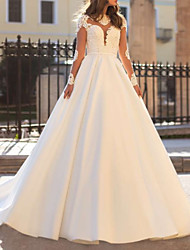 cheap -A-Line Sweetheart Neckline Sweep / Brush Train Lace / Charmeuse Long Sleeve Made-To-Measure Wedding Dresses with Appliques / Draping 2020