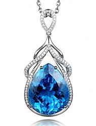 Недорогие -роскошные русалка слезы сапфировое ожерелье для женщин серебро 925 ювелирные изделия капли воды в форме драгоценного камня кулон свадьба
