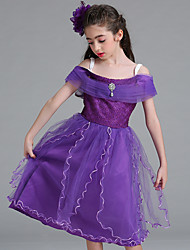 cheap -Rapunzel Dress Masquerade Flower Girl Dress Girls' Movie Cosplay A-Line Slip Cosplay Vacation Dress White / Purple / Blue Dress Halloween Carnival Masquerade Tulle Polyester