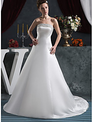 cheap -A-Line Strapless Court Train Satin Strapless Made-To-Measure Wedding Dresses with Beading / Appliques 2020