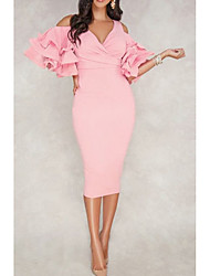 cheap -Sheath / Column V Neck Tea Length Polyester Sexy / Pink Cocktail Party / Formal Evening Dress with Ruffles 2020