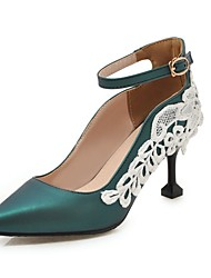 cheap -Women's Heels Stiletto Heel Pointed Toe Stitching Lace Faux Leather Casual / Sweet Walking Shoes Fall / Spring & Summer Black / Green / Pink / Party & Evening
