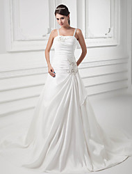 cheap -A-Line Wedding Dresses Square Neck Court Train Satin Taffeta Spaghetti Strap with Ruched Beading Draping 2020