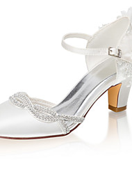 cheap -Women's Wedding Shoes Chunky Heel Round Toe Crystal / Stitching Lace Satin Spring &  Fall / Summer Ivory / Party & Evening