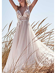 cheap -A-Line V Neck Floor Length Tulle Spaghetti Strap Wedding Dresses with Appliques 2020