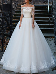 cheap -A-Line Off Shoulder Floor Length Polyester Short Sleeve Illusion Sleeve Wedding Dresses with Sashes / Ribbons / Bow(s) / Lace Insert 2020