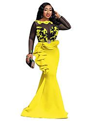 cheap -Women's Sheath Dress - Color Block Black White Yellow S M L XL