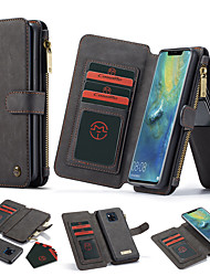 cheap -CaseMe Huawei P30 Mate 20 Pro Wallet Case Magnetic 2 in 1 Case Black All-in-One Handmade Trifold Leather Removable Slim TPU PC Case Card Slots Smart Case Flip Case Cover for Huawei P30 Pro