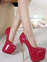 cheap -Women's Heels Stiletto Heel Round Toe PU Fall Black / Purple / Red / Daily