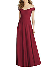 cheap -A-Line Off Shoulder Maxi Polyester Bridesmaid Dress with Tier