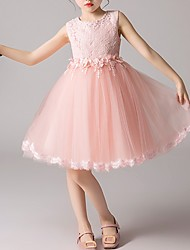 cheap -Kids Little Girls' Dress Solid Colored Flower Party Causal White Blushing Pink Light Blue Cute Sweet Dresses 3-12 Years