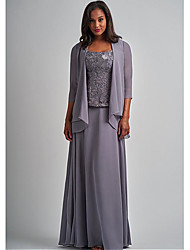 cheap -Two Piece A-Line Mother of the Bride Dress Elegant Wrap Included Square Neck Floor Length Chiffon Lace 3/4 Length Sleeve with Appliques 2021