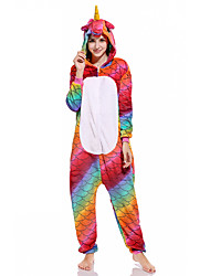 cheap -Adults' Kigurumi Pajamas Unicorn Onesie Pajamas Flannelette Red Cosplay For Men and Women Animal Sleepwear Cartoon Festival / Holiday Costumes / Leotard / Onesie