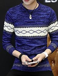 cheap -Men's Color Block / Plaid Long Sleeve Pullover Sweater Jumper, Round Neck Black / Navy Blue / Beige US32 / UK32 / EU40 / US34 / UK34 / EU42