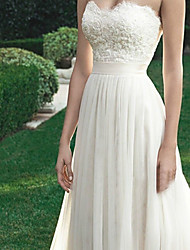 cheap -A-Line Wedding Dresses Strapless Sweep / Brush Train Tulle Regular Straps with Appliques 2020