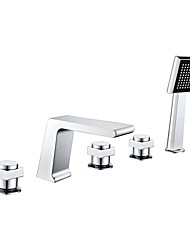 cheap -Bathtub Faucet - Contemporary Chrome Widespread Brass Valve Bath Shower Mixer Taps