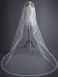 cheap -One-tier Sweet Style / Classic Wedding Veil Cathedral Veils with Solid / Paillette 118.11 in (300cm) 100% Polyester