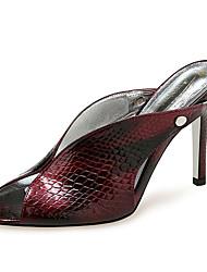 cheap -Women's Sandals Stiletto Heel Peep Toe Rivet PU Vintage Summer Brown / Wine / Gray