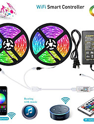 cheap -ZDM WIFI Smart LED Strip Lights Kit 2 X 5M 5050 RGB Tape Light Work with Alexa Google Home WiFi Wireless Smart Phone Controlled LED Set 32.8ft 300 LEDs Rope Light Waterproof & 12V 6A Power Supply