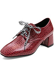 cheap -Women's Heels Chunky Heel Square Toe Bowknot PU Vintage / Casual Summer Black / White / Red