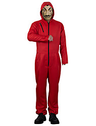 cheap -la casa de papel Dali Cosplay Costume Halloween Mask Men's Women's Boys' Movie Cosplay Red Leotard / Onesie Mask Halloween Cotton / Polyester Blend PVC
