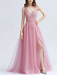 cheap -A-Line Plunging Neck Sweep / Brush Train Jersey Dress with Beading / Sequin / Split Front by LAN TING Express