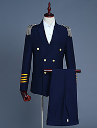 cheap -Prince Victorian Napoleon Jacket Winter Coat Pants Suits & Blazers Men's Costume White / Navy Blue Vintage Cosplay Party Halloween Long Sleeve