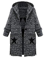 cheap -Women's Daily / Work Winter / Fall & Winter Long Overcoat, Color Block Black & Gray V Neck / Hooded / Turndown Long Sleeve Cotton Oversized Gray