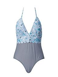 cheap -Women's Basic Yellow Blue Halter Cheeky High Waist Bikini Swimwear - Floral Geometric Backless Lace up Print S M L Yellow