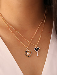 cheap -Women's Pendant Necklace Necklace Classic Keys Heart Classic Vintage Trendy Fashion Imitation Pearl Chrome White Gold 48 cm Necklace Jewelry 1pc For Gift Daily School Holiday Festival