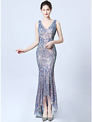 cheap -Mermaid / Trumpet V Neck Asymmetrical Sequined Dress with Sequin by LAN TING Express